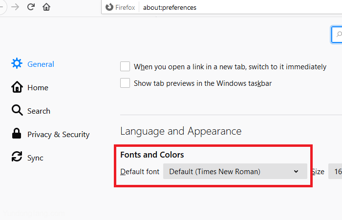 Change-the-default-font-for-Firefox