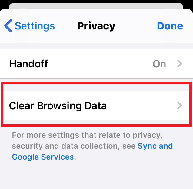 Clear-Browsing-Data-under-Chrome-iPhone-Privacy-Settings
