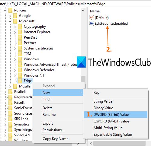create-EditFavoritesEnabled-dword-value-in-Edge-key
